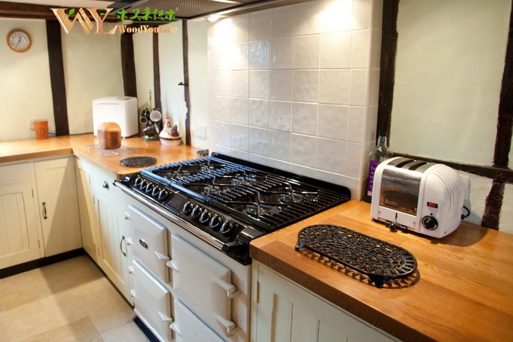 cocina de madera maciza mueble de roble de la parte superior de mesa