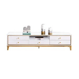 TV Stand model Specific Use and Modern Appearance Stainless Steel hot sale white marble corner tv stand