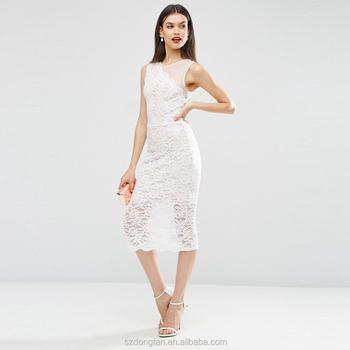 b243b4780b7 Tela de malla blanca empalmado Crochet vestido Midi vestido vestidos de  encaje para las mujeres el