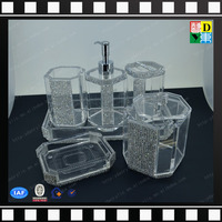 luxury new design acrylic hotel supplies for five star use acrylic cup with diamond for hotel use acrylic dispenser from China