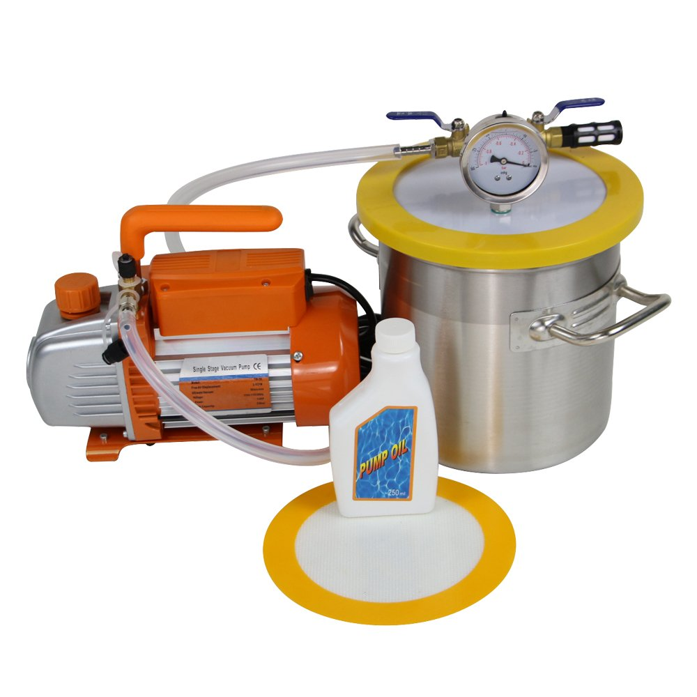 5 Gallon Vacuum Degassing Chamber Kit with 3 CFM Pump Not for Wood Stabilizing