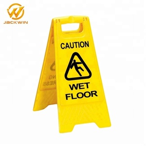 Yellow Plastic Wet Floor Warning Sign/Caution Board/Foldable A-Shape Caution Signs