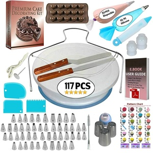 117 PCS Cake Decorating Supplies Kit Turntable Stand Icing Tips Spatula Russian Piping Nozzles Baking Tools Set for Beginners
