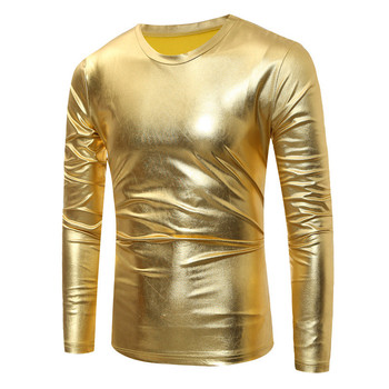 Cool Gold Coated Metallic T Shirt Men Long Sleeve O Neck Men Shirt Night  Club Mens b4fb7efd2a05