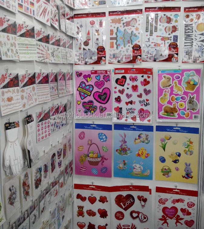 Custom high quality Removable window glass valentine static cling sticker