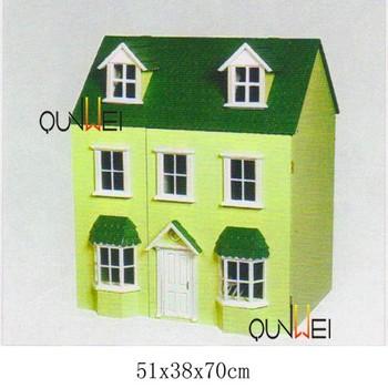 112 Scale Fashion Toy Mini Wooden Farmhouse Dollhouse Cottage House