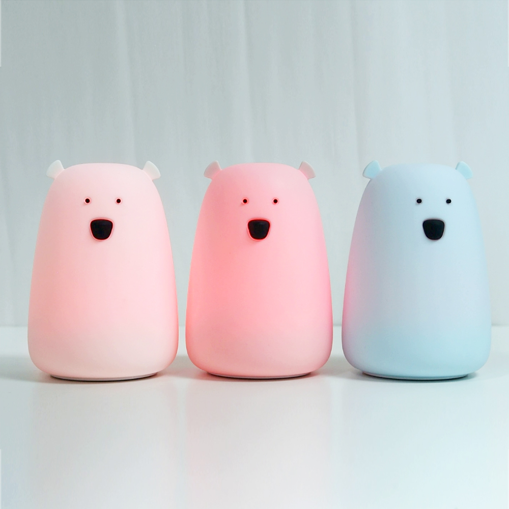 Silicone Children's Nursery Night Light Bear with 7-Color Breathing Modes