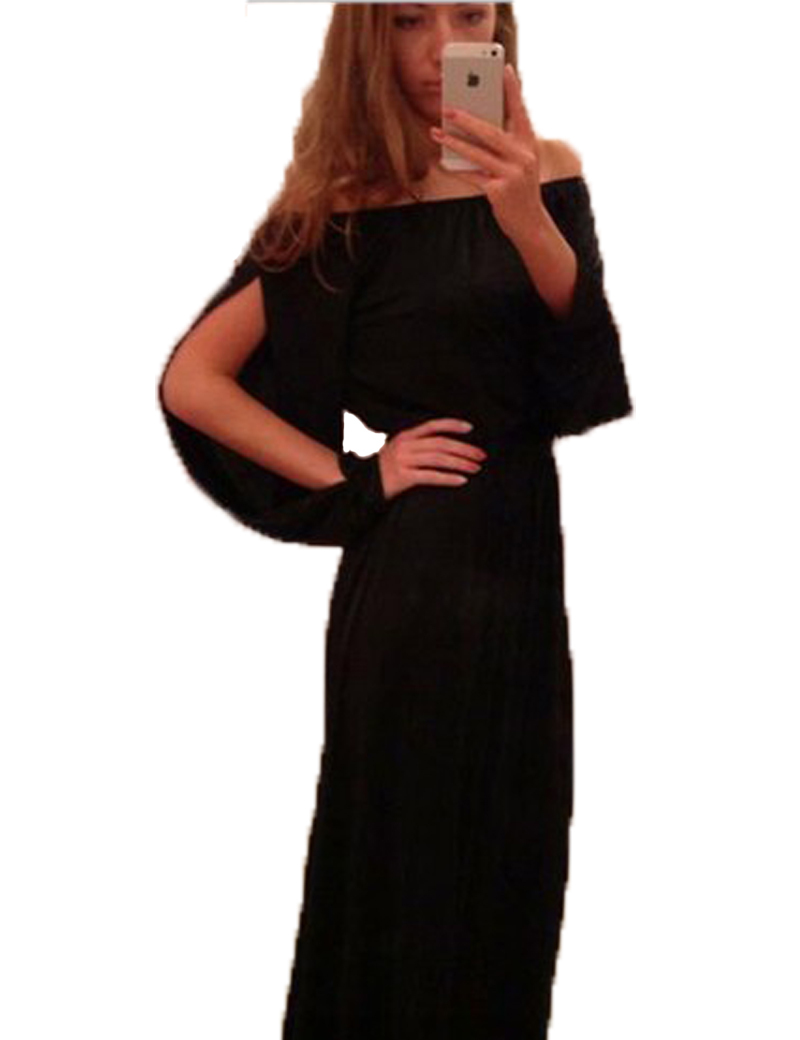 a30f692baf5f6 Black Long Maxi Tshirt Dress 2015 Summer Women Chiffon 3/4 Long Sleeve Side  Split Button Maxi Dress Shirt Dress with Belt 60212