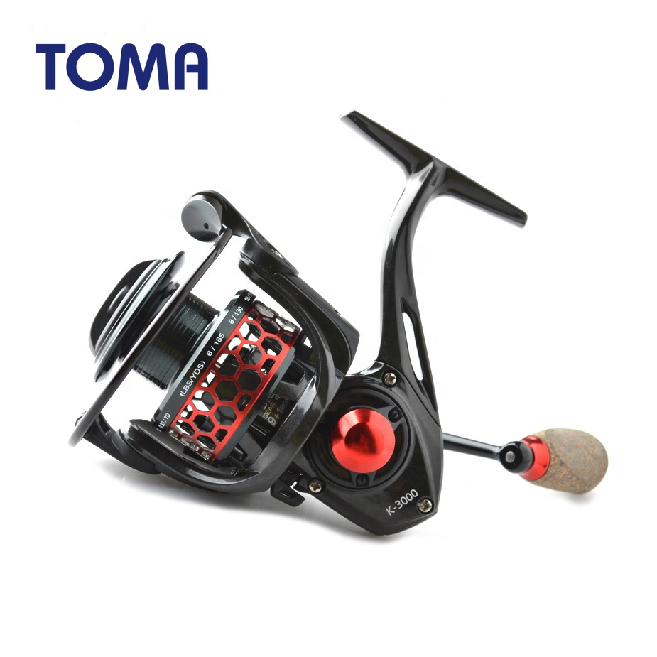 TOMA Ultralight Carbon Spinning Reels 5.2:1 9+1BB Carp Fishing Reel Pesca Japan Fishing Tackle, Red green