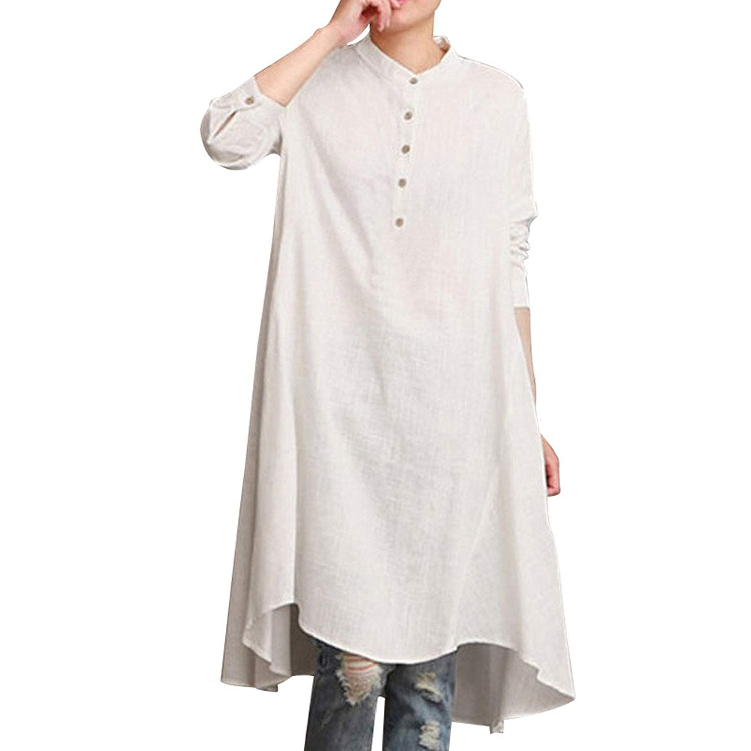 56462e04f8c Get Quotations · WEUIE Women Tops Clearance Sale Womens Kaftan Cotton Linen  Long Sleeve Loose Blouse Tops Shirt Baggy