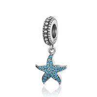 New Arrivals Summer Sea Jewelry Blue Sea Star Silver Starfish Necklace Charm