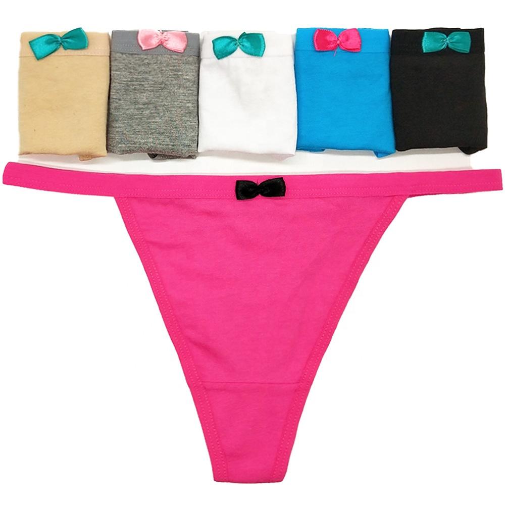 Échantillon gratuit culottes string Bow Sexy filles culottes string coton dames sous-vêtements culottes Sexy string
