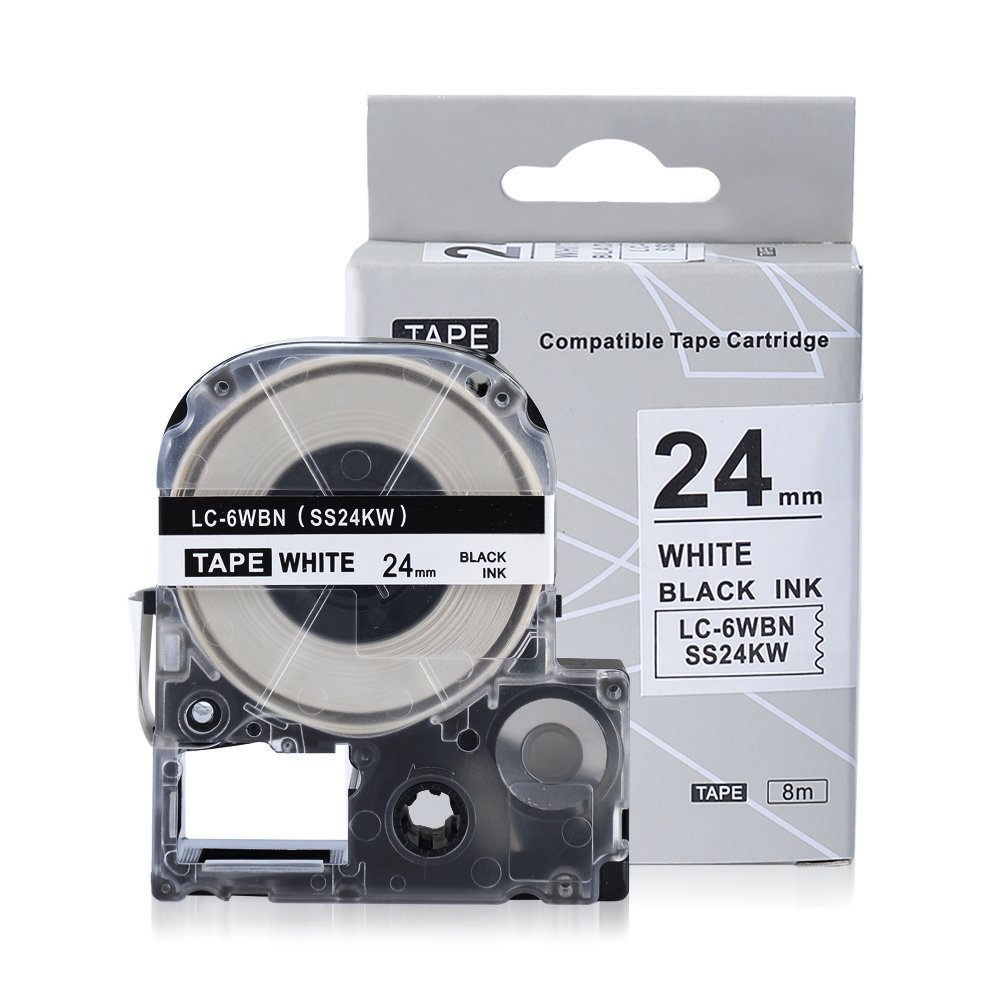 "Compatible Epson LC-6WBN9 (SS24KW) Label Tape Black on White 1/1"" X26.2ft (24mm x 8m) Use with Epson LM-700 LW-900P OK500P OK720 OK900P"