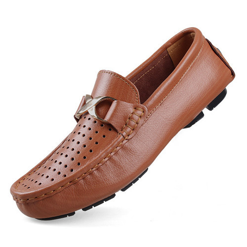 2015 New Mens Loafers Shoes Leather Summer Breathable Flats Casual Men's Shoes Zapatos Hombre Brown Slip On Shoes Size 38-47