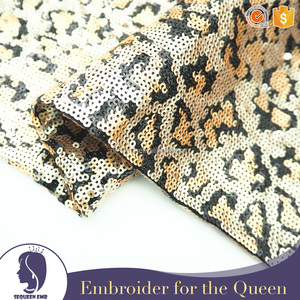 sequin embroidery fabric for dress in gold and black color