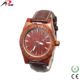 Leather vintage wood effectiion wrist watches