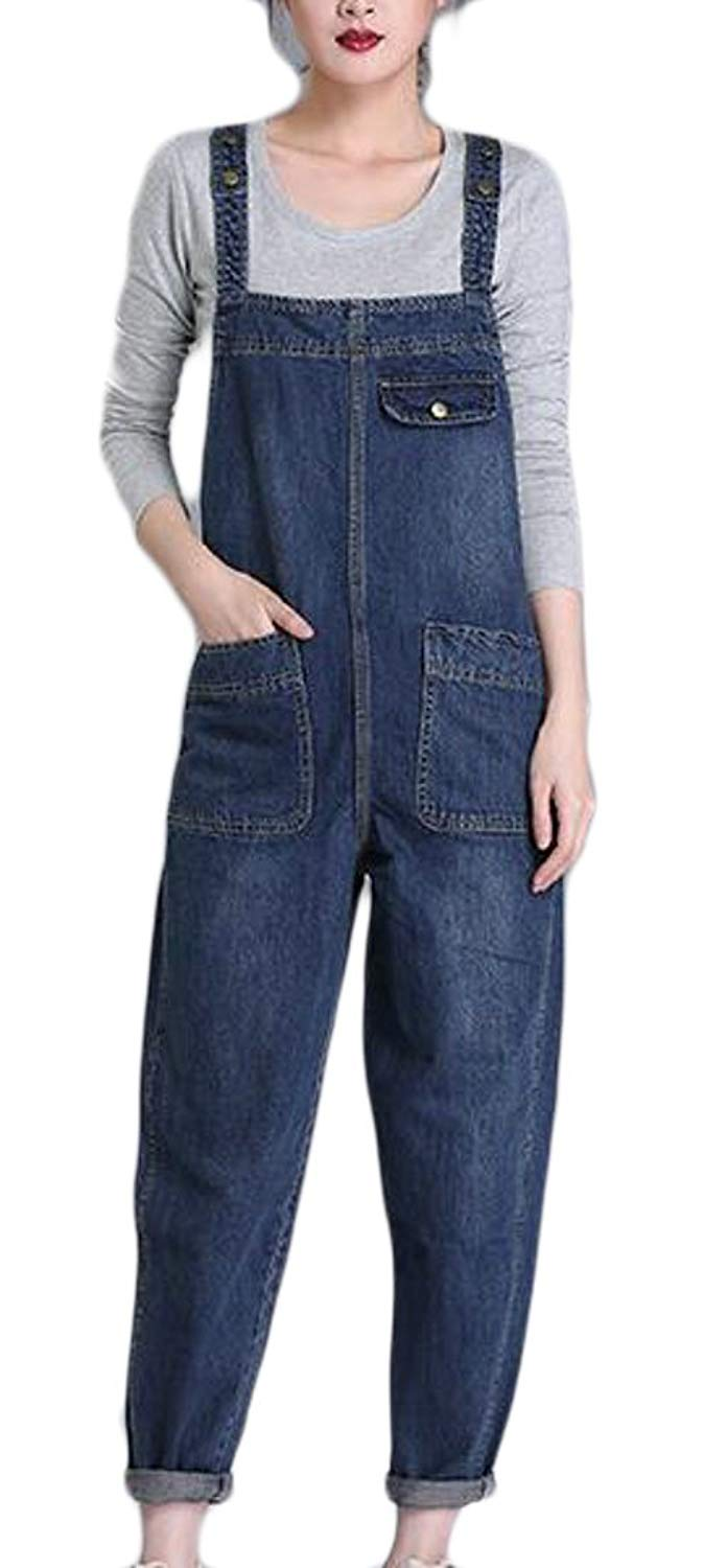 78b7a910a725 Get Quotations · Yayun Yayu Women s Classic Wash Denim Bib Overalls Denim  Bib Overalls Playsuit