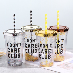 Wholesale Plastic Glitter Cup Double Wall Tumbler with Straw