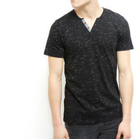V neck front button rayon polyester cotton t shirt