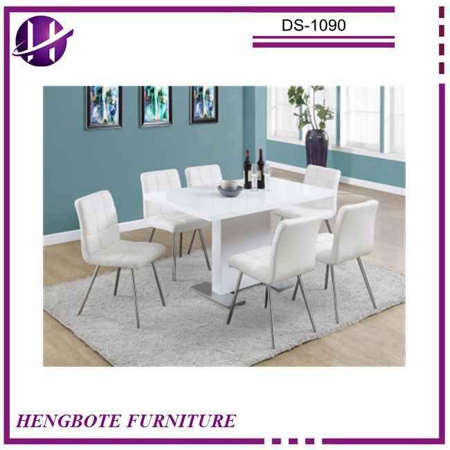 vidrio moderna mesa de comedor conjunto con sillas blancas pintado tapa de cristal mesa de