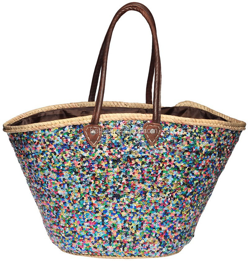 Custom Woman Sequin Paper Straw Beach Bags With Leather Handle ...