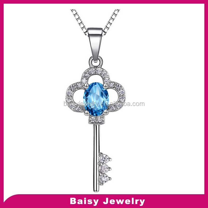 New style key design silver changing color mood necklaces