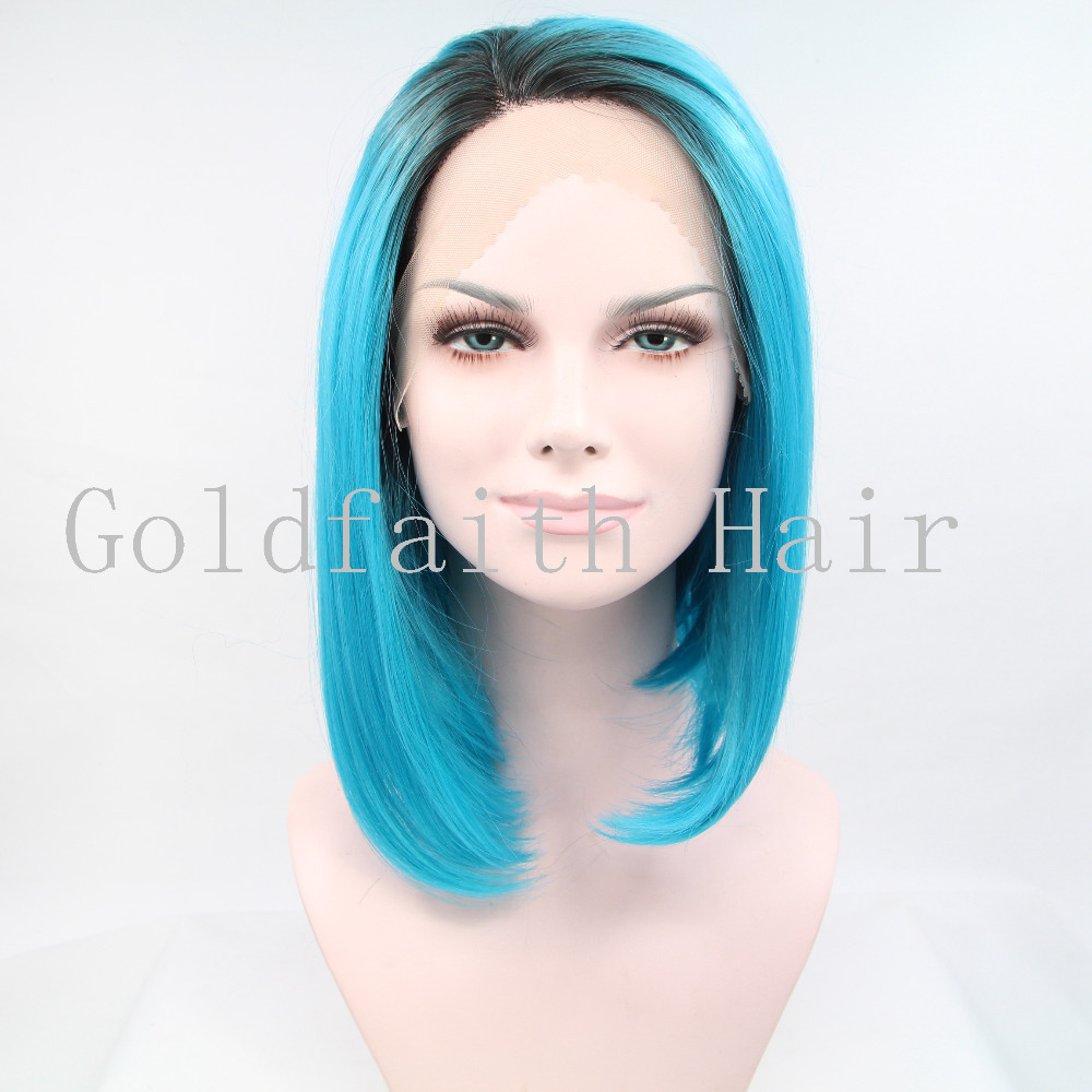 Get Quotations · BOBO Ombre Dark Root Blue Straight Kanekalon Wig Front  Lace Synthetic Hair Halloween Costume Party Wig 2f325dee02