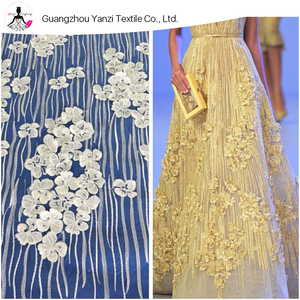 Guangzhou fancy evening dress bridal 3d flower lace fabric embroidery