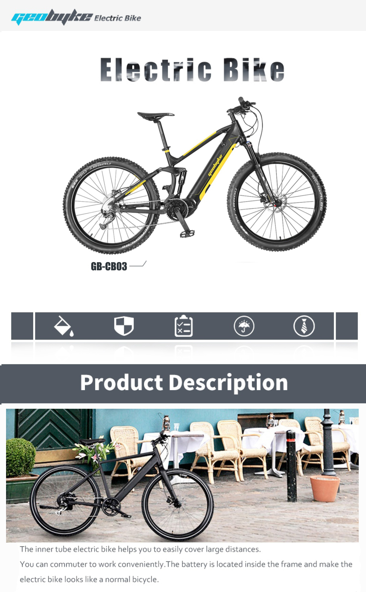 Full Suspension Electric Mountain Bike Mid Driving with Hidden Battery 48V14.5A