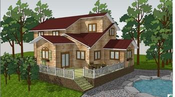 Cucina In Pino Russo : Di legno casa di tronchi pino russo e la casa materiale ufficio