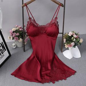 Women Sleeveless Strap Pajama Sets Nightwear Lace Trim Satin Sleepwear Set Top Sexy Lingerie