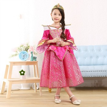 Halloween Costumes Beautiful Long Frocks Images Cute Fashion Girls Puffy Sleeping Beauty Cosplay Dress SMR004