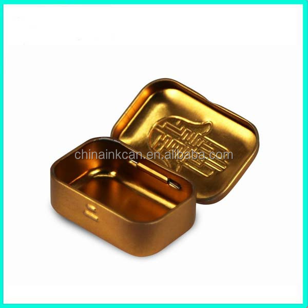 Hot sale!! small metal hinged lid tin box with custom design,4 colors small metal tins