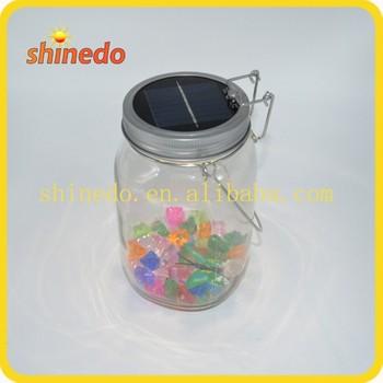 Solar Ed Led Lantern Table Consol Jar With 4 Warm Light