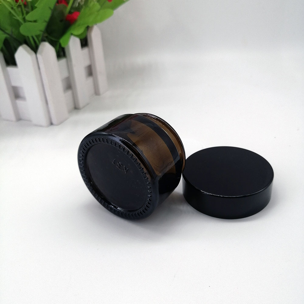 30g amber glass cream empty jar with black plastic lid cosmetic packaging container brown glass bottle