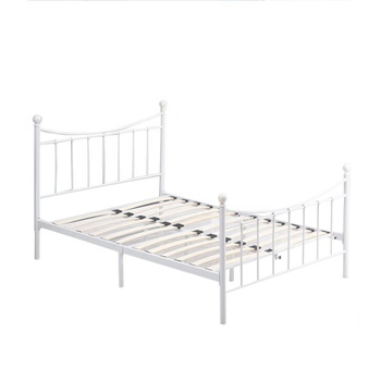 White Double Metal Bed Frame 4ft6 Beds with Strong Headboard and Footboard for Kids Adults Guest