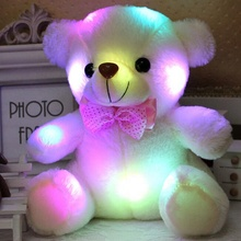HI CE Light Up LED Induttivo <span class=keywords><strong>Teddy</strong></span> Bear Farcito Animali di Peluche Peluche Giocattolo Colorful Glowing Orsacchiotto per I Bambini