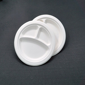 Biodegradable Paper Plate Compartment Plate Christmas Tableware White