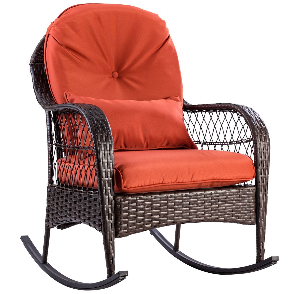 "TANGKULA Wicker Rocking Chair Outdoor Porch Garden Lawn Deck Wicker All Weather Steel Frame Rocker Patio Furniture w/Cushion (red Cushion) 27"" Lx34.5 Wx37.5 H"