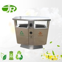 two compartment stainless steel recycle garbage waste bin