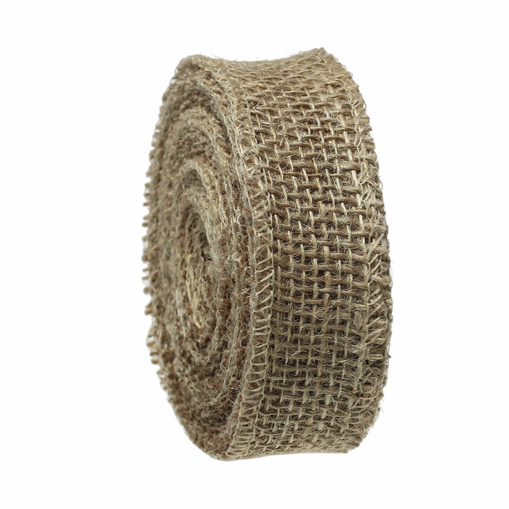 "High Quality Brown 3.0cm(1 1/8"") Natural Jute Burlap Mesh Ribbon"