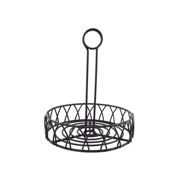 Black Iron Metal Kitchen Tabletop Condiment Holder
