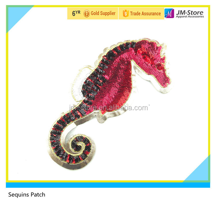 Glue on Applique Sea Horse Motif Iron on Heat Transfer Sequins Patch