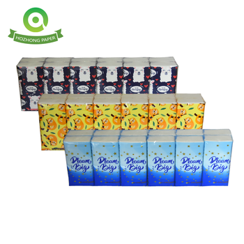 custom printed 3 ply high quality pocket tissue travel pack/pocket facial tissue