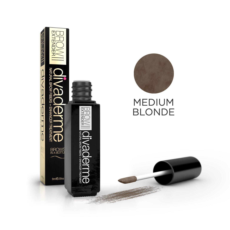 Divaderme Brow Extender II - Black Glass Bottle Edition - 100% Natural Semi Permanent - Eyebrow Fibers + Enhancer Treatment - Made in USA (Medium Blonde)