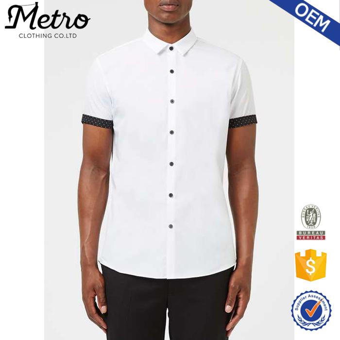 Wholesale Fashion White And Black Dot Short Sleeve Smart Shirt for Men