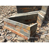 HS1120 Cheap Natural Yellow Culture Stone Stacked Stone Ledge Rust Slate Wall Cladding