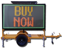 Patented Trailer Mounted Solar LED VMS Message Display Small Size