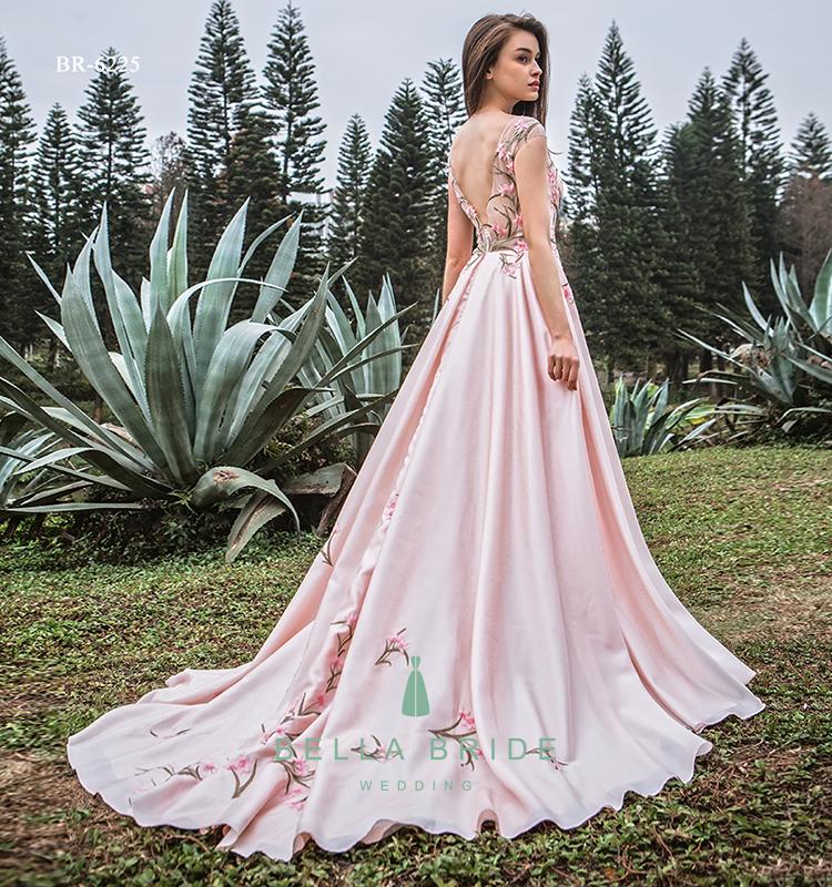 Blush Pink Wedding Dress Women Party Gowns Soft Satin Frock Guest Dresses