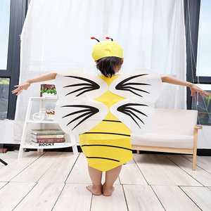 funny carton yellow bumble bee costume for girls with wings mascot costume